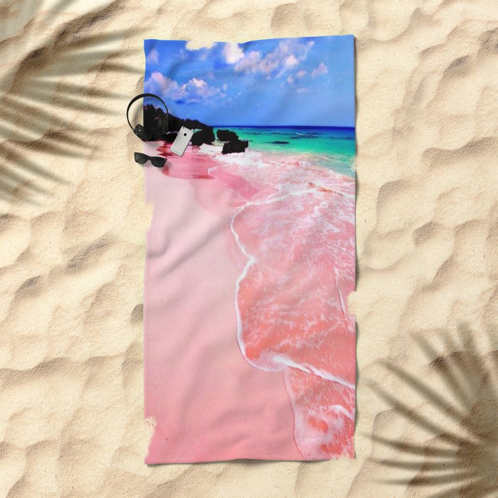 Elafonissi Chania Pink and Turquoise Sea Beach Towel