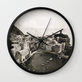 vernazza {b&w Wall Clock