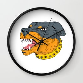 Rottweiler Guard Dog Head Aggressive Drawing Wall Clock