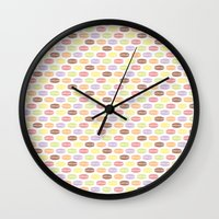 macaroons Wall Clocks featuring Macaroons by Rehan Butt
