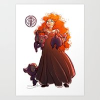 be brave Art Prints featuring Brave by samanthadoodles