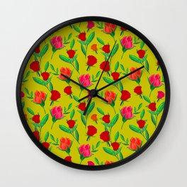 Rosebud Print - Chartreuse Wall Clock