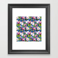 Honolulu Floral - Blue Framed Art Print
