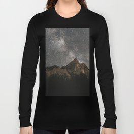 Milky Way Over Mountains - Landscape Photography Long Sleeve T-shirt