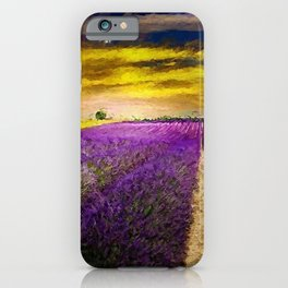 Lavender Fields Under a Golden Sunset Twilight landscape painting iPhone Case