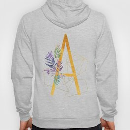 Modern glamorous personalized gold initial letter A, Custom initial name monogram gold alphabe Hoody