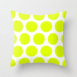 Chartreuse Large Polka Dots Throw Pillow