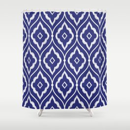 Embroidery vintage pattern illustration with porcelain indigo blue and white Shower Curtain