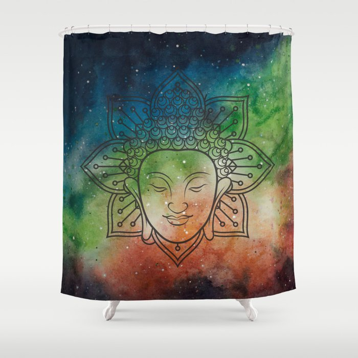 Intergalactic Buddha Shower Curtain By Cirkacerka