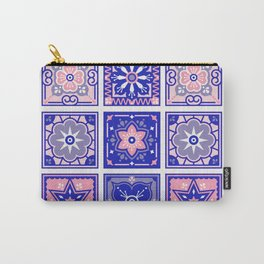 Talavera Mexican Tile – Pink & Periwinkle Palette Carry-All Pouch