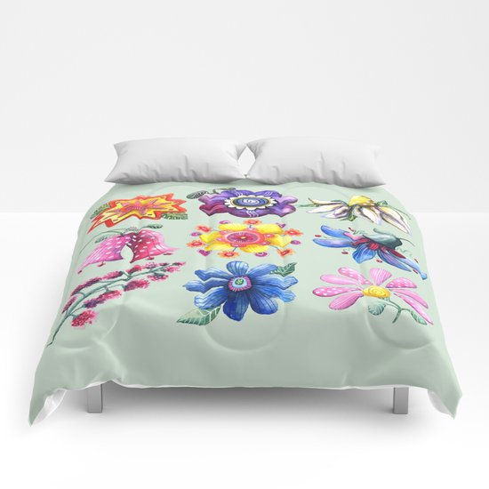 Pretty Flowers All in a Row Green Comforters