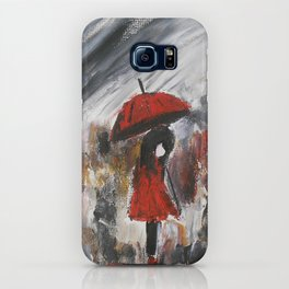Girl In Red Raincoat Umbrella Rainy Day Fine Art Print Of Acrylic Painting iPhone Case