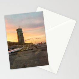 Airplane sunset Stationery Cards