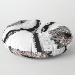 Gray Black White Agate Glitter Glamor #4 #gem #decor #art #society6 Floor Pillow