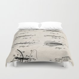 Fly Fishing Patent - Fisherman Art - Antique Duvet Cover