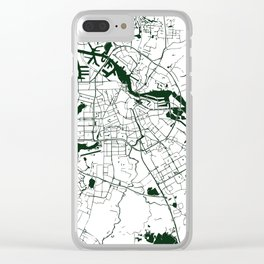 Amsterdam White on Green Street Map Clear iPhone Case