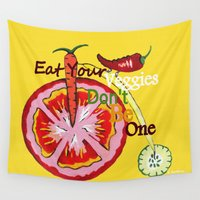 vegetable Wall Tapestries featuring Don't Be A Vegetable by Sartoris ART