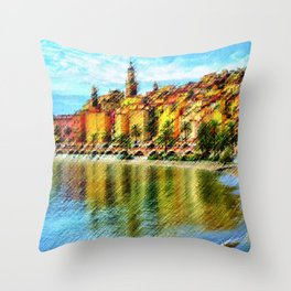 Cote d'azur, Menton France at Morning Landscape Painting by Jeanpaul Ferro Throw Pillow