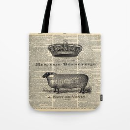 french dictionary print jubilee crown western country farm animal sheep Tote Bag