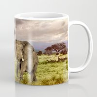 novelty Mugs featuring Elephant Landscape Collage by Moody Muse