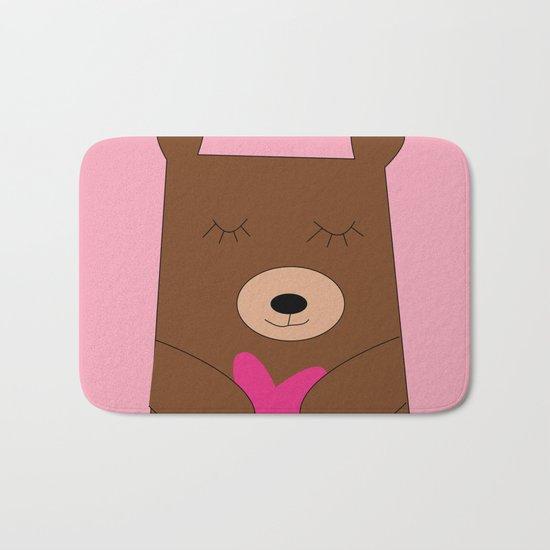 Bear in love pink Bath Mat