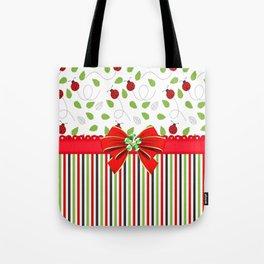 Flourishing Ladybugs Colorful Strips Tote Bag