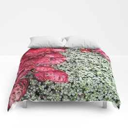 Pink Leaves on Green Carpet Comforters