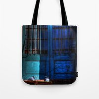 manchester Tote Bags featuring Manchester Pigeons by Caroline Benzies Photography