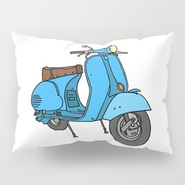 Blue motor scooter (vespa) Pillow Sham