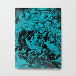 Suminagashi 2 turquoise and white marble spilled ink ocean swirl watercolor painting Metal Print
