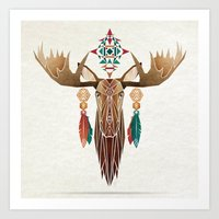 moose Art Prints featuring moose by Manoou