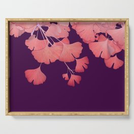 Coral Ginkgo Biloba Leaves Serving Tray