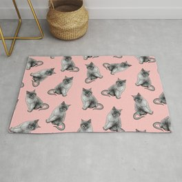Cute Girly Pink Cats Animal Pattern Illustrations Rug