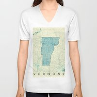 vermont V-neck T-shirts featuring Vermont State Map Blue Vintage by City Art Posters