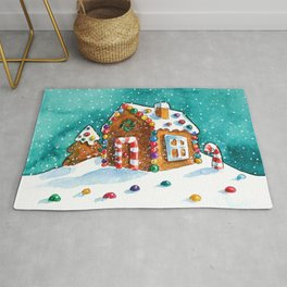 Gingerbread house with lots of candy Rug