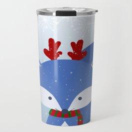 Cute Fox Wintery Holiday Design Travel Mug