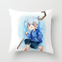 jack frost Throw Pillows featuring Jack Frost by cynamon