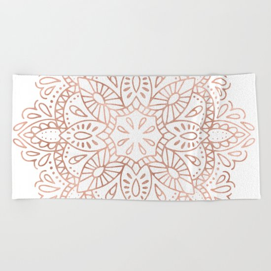 Mandala Rose Gold Pink Shimmer by Nature Magick Beach Towel