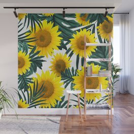 Tropical Sunflower Jungle Leaves Pattern #1 #tropical #decor #art #society6 Wall Mural