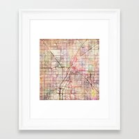 las vegas Framed Art Prints featuring Las Vegas by MapMapMaps.Watercolors