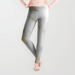 Marble - Shimmery Gold Marble on White Pattern Leggings