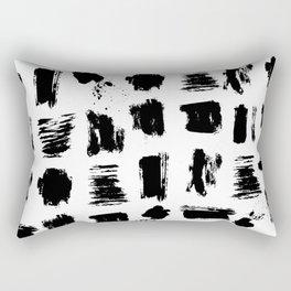 Modern black white artistic watercolor brushstrokes Rectangular Pillow