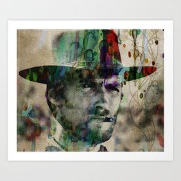 Cowboy Clint Eastwood Watercolor Painting Pop ART Color Art Print