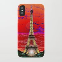 dark tower iPhone & iPod Cases featuring Eiffel Tower after dark by JT Digital Art