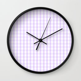 Chalky Pale Lilac Pastel and White Gingham Check Plaid Wall Clock