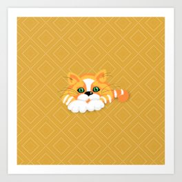 Cute Fluffy Ginger and white cat Art Print