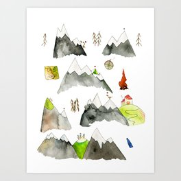 Watercolor Hills for Hikers and Nature lovers Art Print