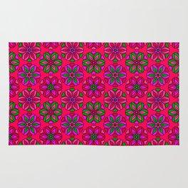 Boho Pinks Retro Flower Pattern Rug