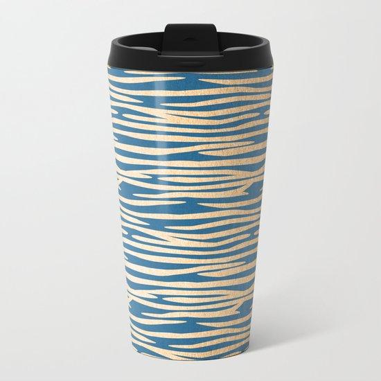 Zebra - Orange Sherbet Shimmer on Saltwater Taffy Teal Metal Travel Mug