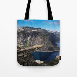 Trolltunga on a Blue Sky Day in Norway Tote Bag